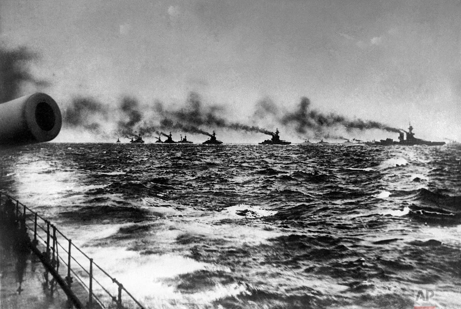In this May 31,1916 photo, the British Grand Fleet under admiral John Jellicoe on their way to meet the Imperial German Navy's fleet for the Battle of Jutland in the North Sea. (AP Photo)