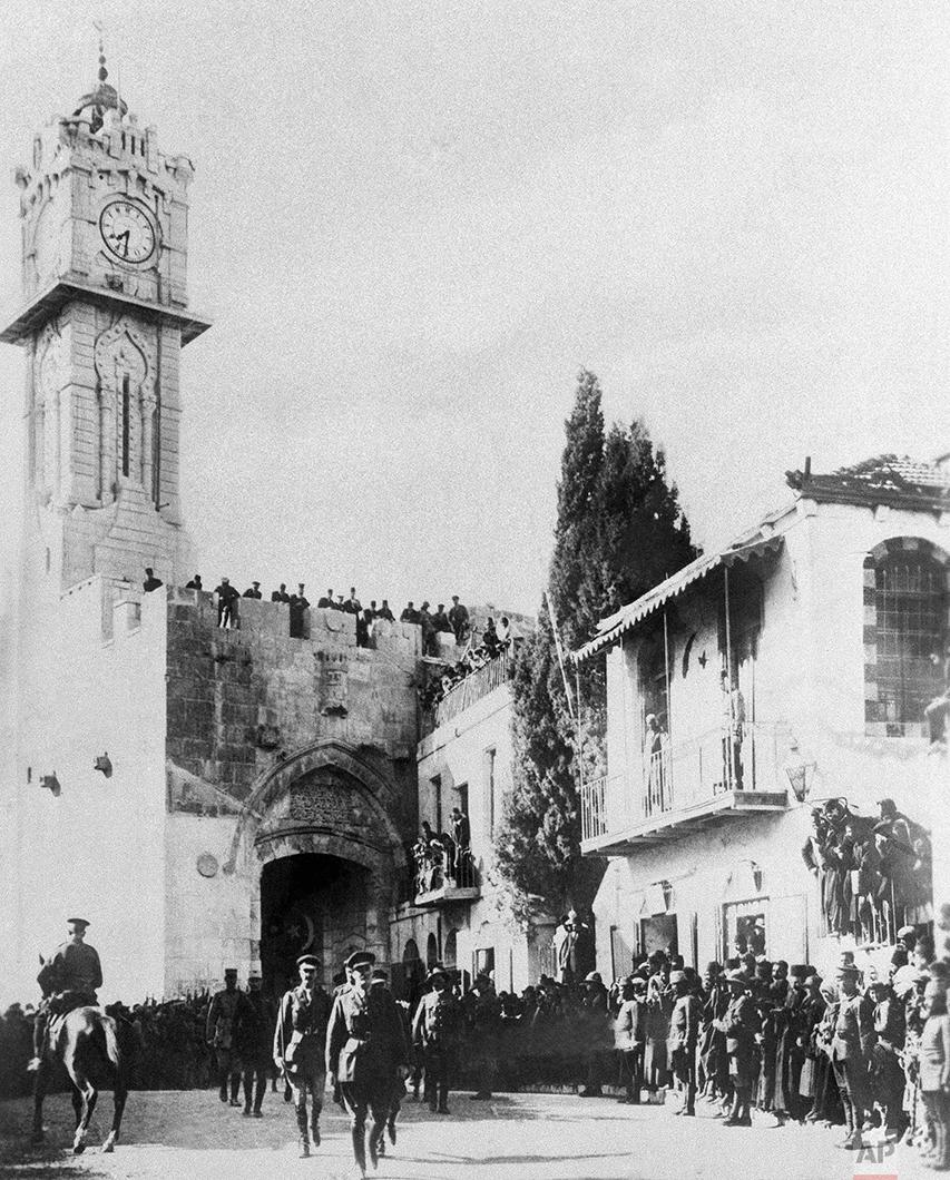 In this Dec. 9, 1917 photo, British General Sir Edmund Allenby enters the captured city of Jerusalem, during World War One. (AP Photo)