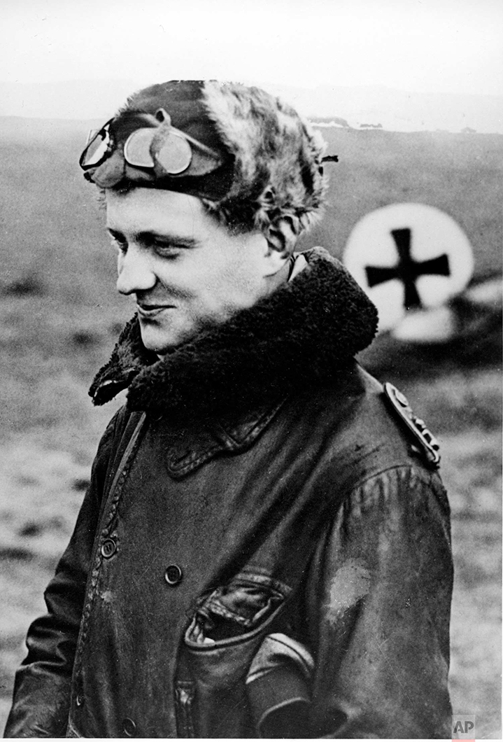 """In this 1916 photo, German flying ace Manfred von Richthofen, also known as the """"Red Baron,"""" is shown returning from a mission at his squadron's aerodrome. Von Richthofen was shot down and killed over France in April 1918. (AP Photo)"""
