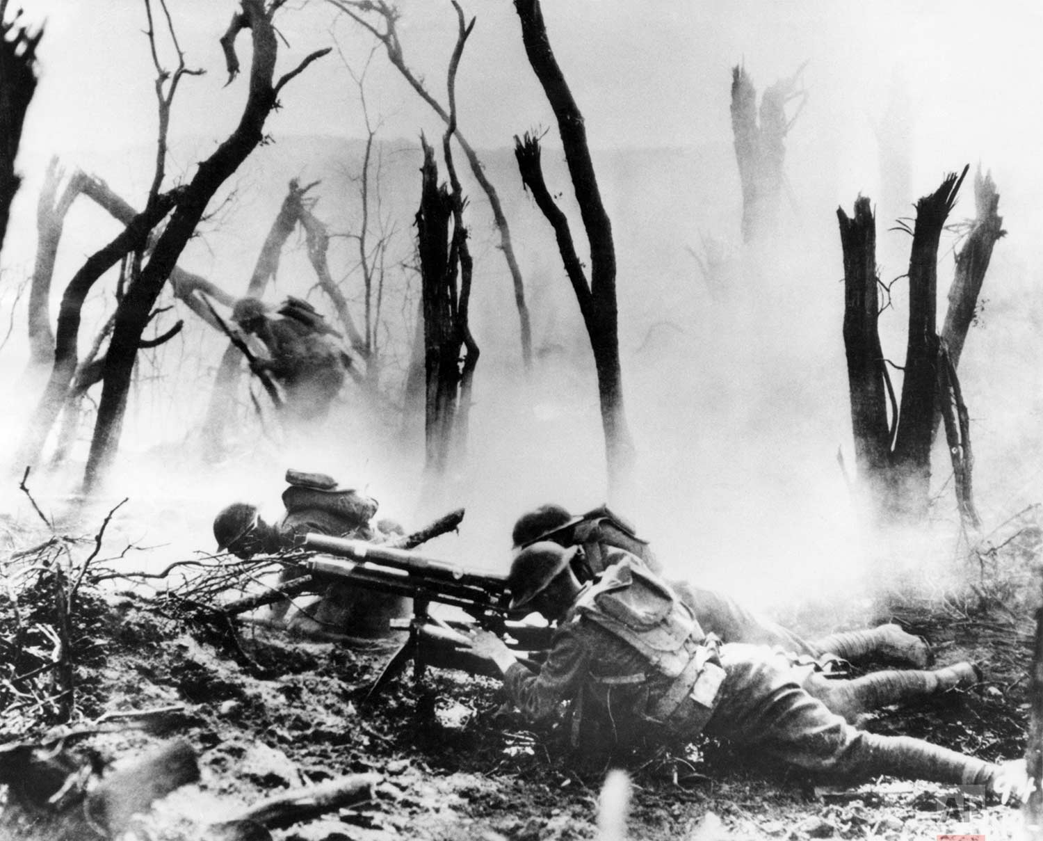 In this Sept. 26, 1918 photo, a U.S .Army 37-mm gun crew man their position during the World War One Meuse-Argonne Allied offensive in France. (AP Photo)