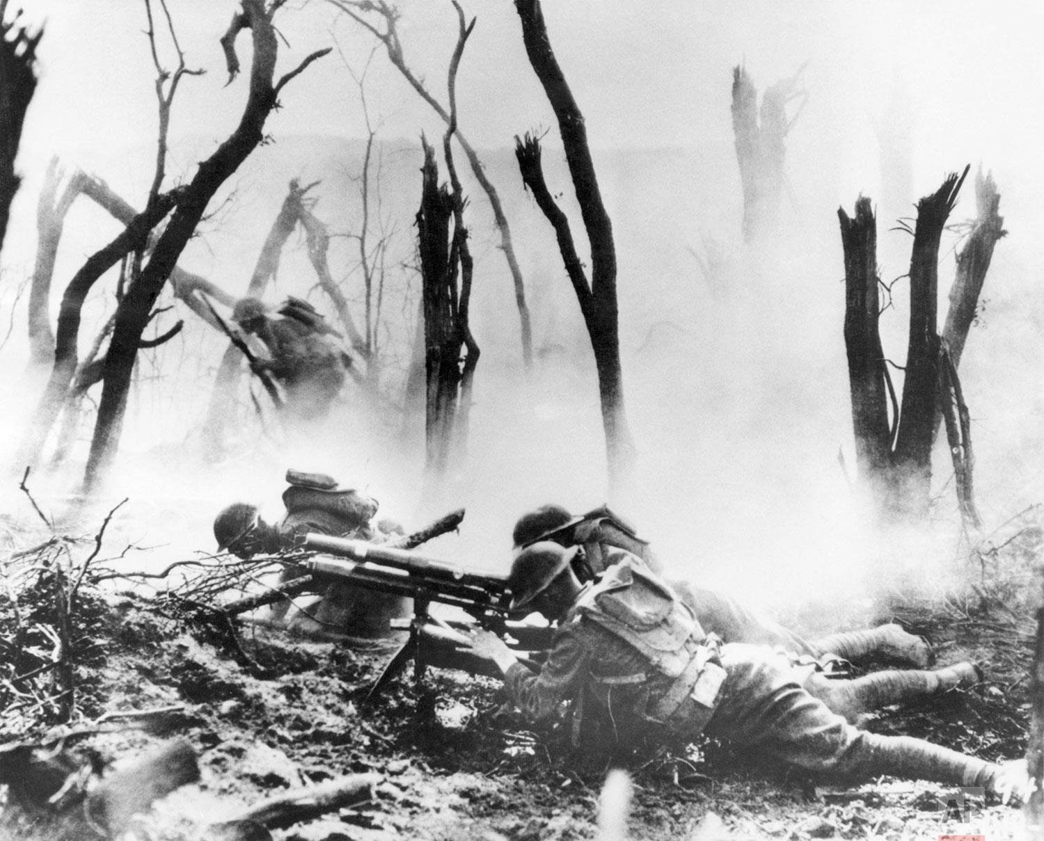 In this Sept. 26, 1918 file photo, a U.S .Army 37-mm gun crew man their position during the World War One Meuse-Argonne Allied offensive in France. (AP Photo)