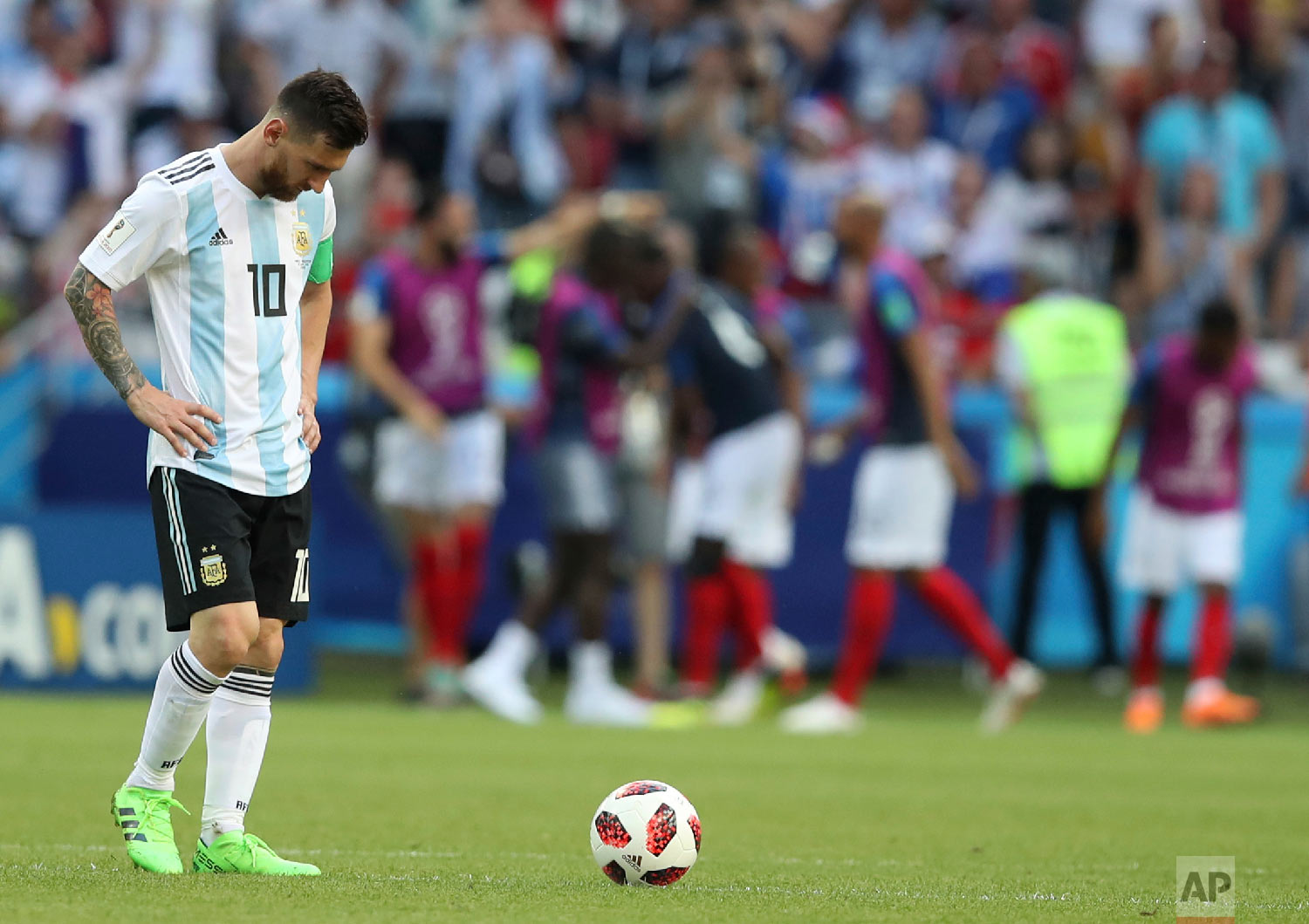 Argentina's Lionel Messi reacts after France took the lead with a third goal by Kylian Mbappe during the round of 16 match between France and Argentina at the 2018 soccer World Cup at the Kazan Arena in Kazan, Russia, on June 30, 2018. (AP Photo/Thanassis Stavrakis)