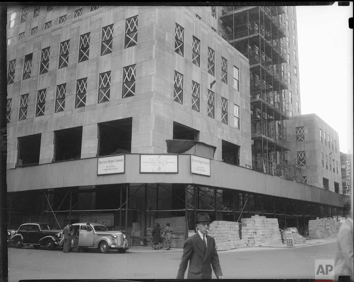 The new Associated Press building is shown under construction at Rockefeller Center, New York, Oct. 8, 1938. (AP Photo/Corporate Archives)