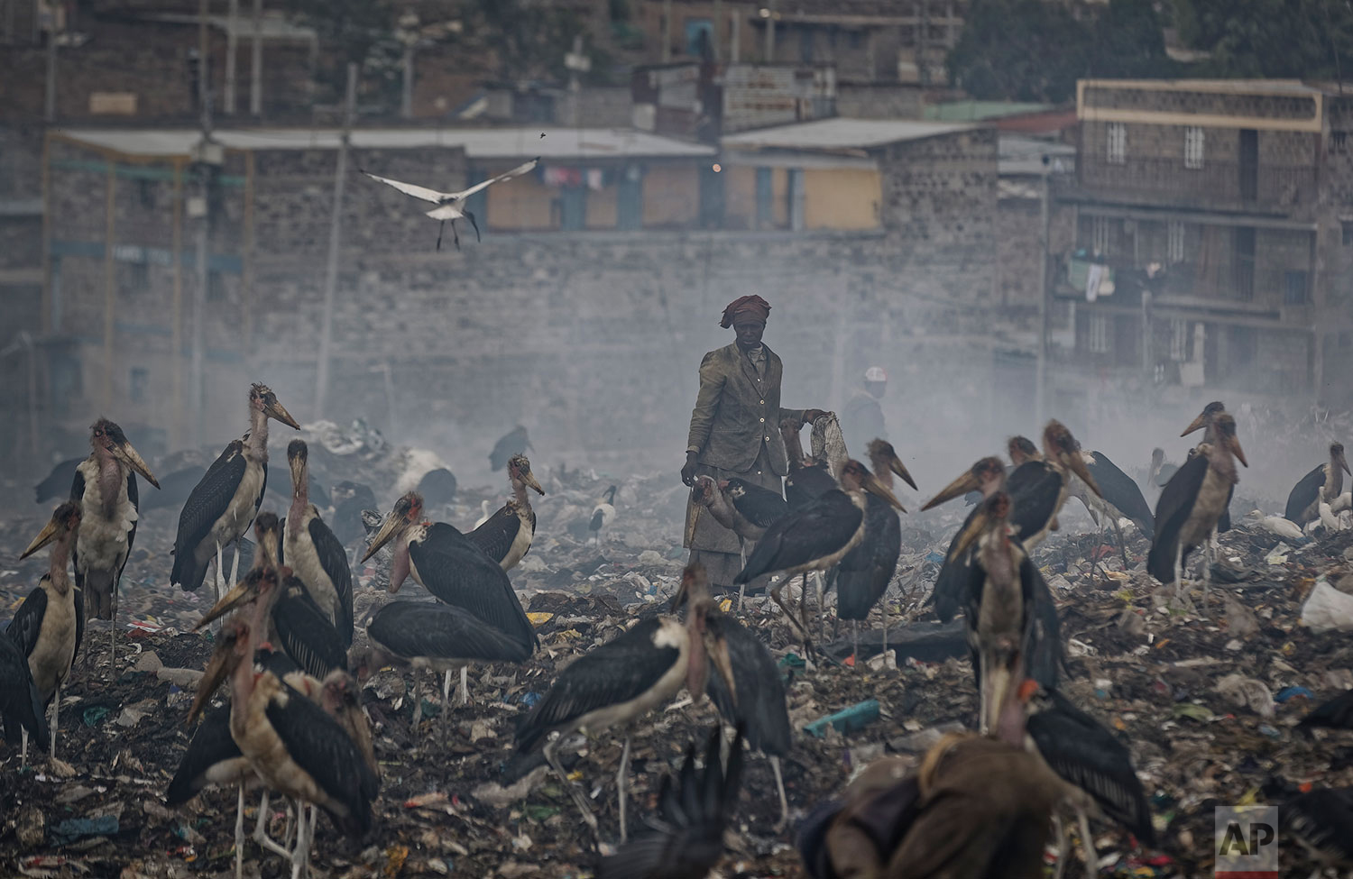 In this Wednesday, Dec. 5, 2018 photo, a woman who scavenges recyclable materials from garbage for a living is seen through a cloud of smoke from burning trash, surrounded by Marabou storks who feed on the garbage, at the dump in the Dandora slum of Nairobi, Kenya. (AP Photo/Ben Curtis)