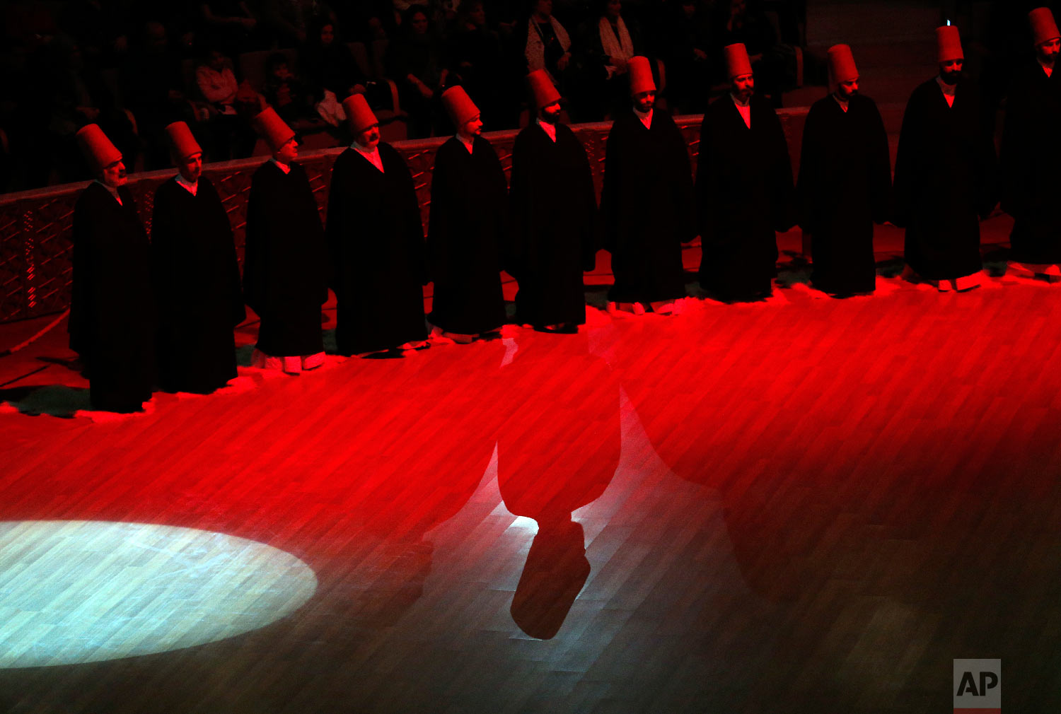 Whirling dervishes of the Mevlevi order stand during a Sheb-i Arus ceremony in Konya, central Turkey, Sunday, Dec. 16, 2018. (AP Photo/Lefteris Pitarakis)