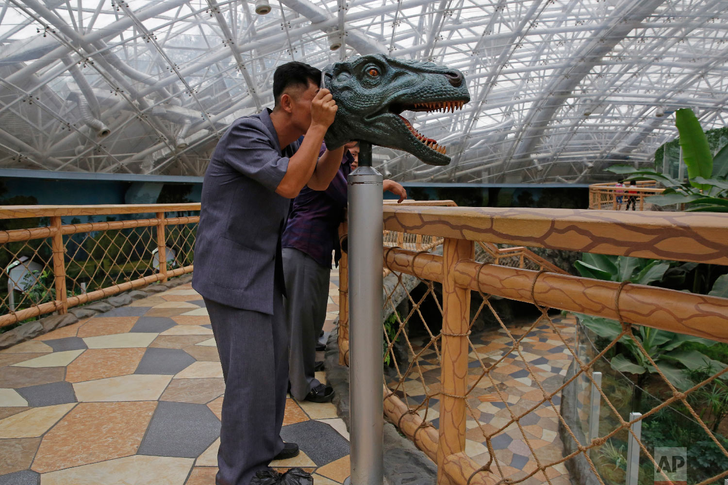 A North Korean man looks through a device to study the vision of a dinosaur, at the Central Zoo in Pyongyang, North Korea Saturday, Sept. 15, 2018. (AP Photo/Kin Cheung)