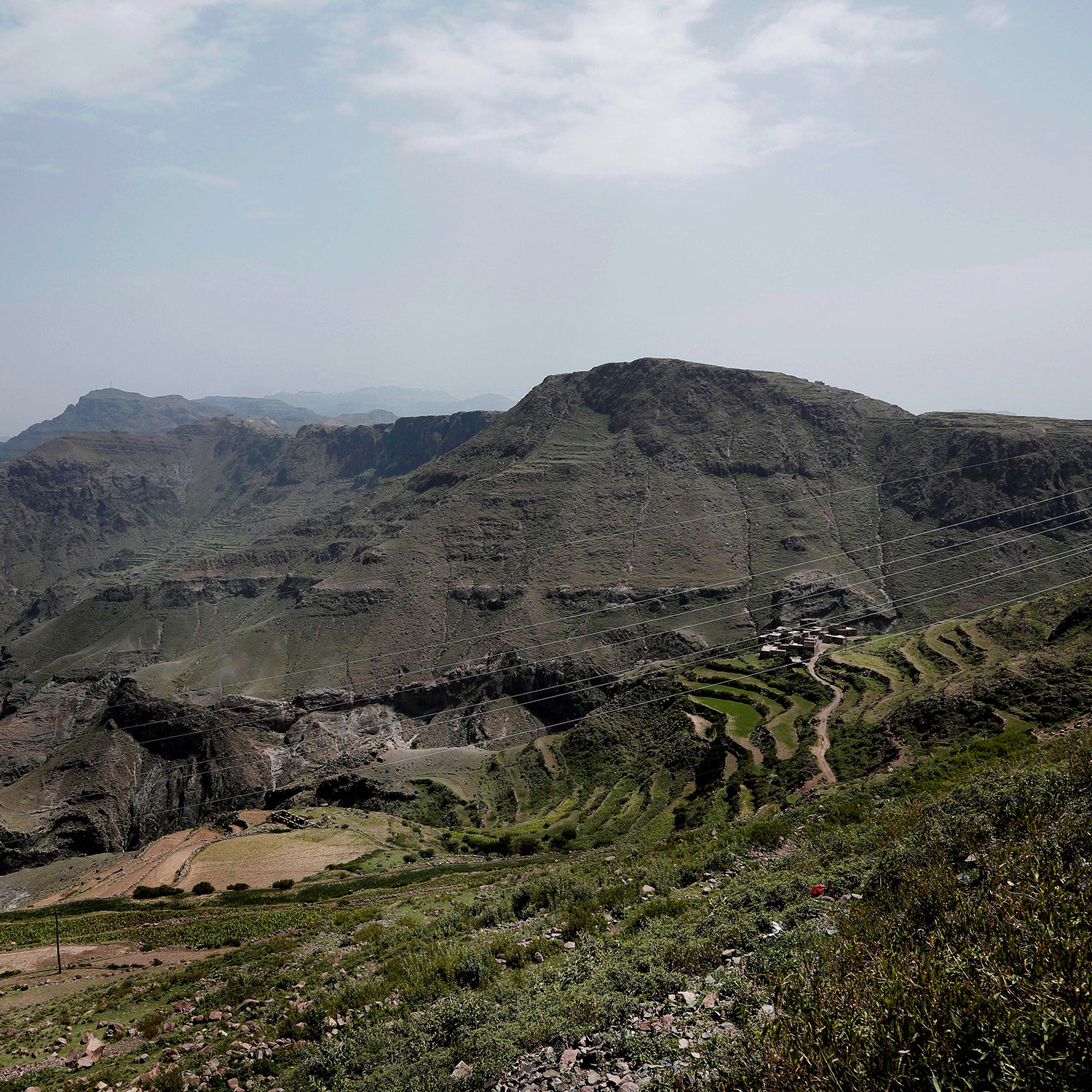 This Aug. 3, 2018 photo, shows green mountain landscape, where the terraces were planted with corn, barbary figs and qat, in Ibb, Yemen. (AP Photo/Nariman El-Mofty)