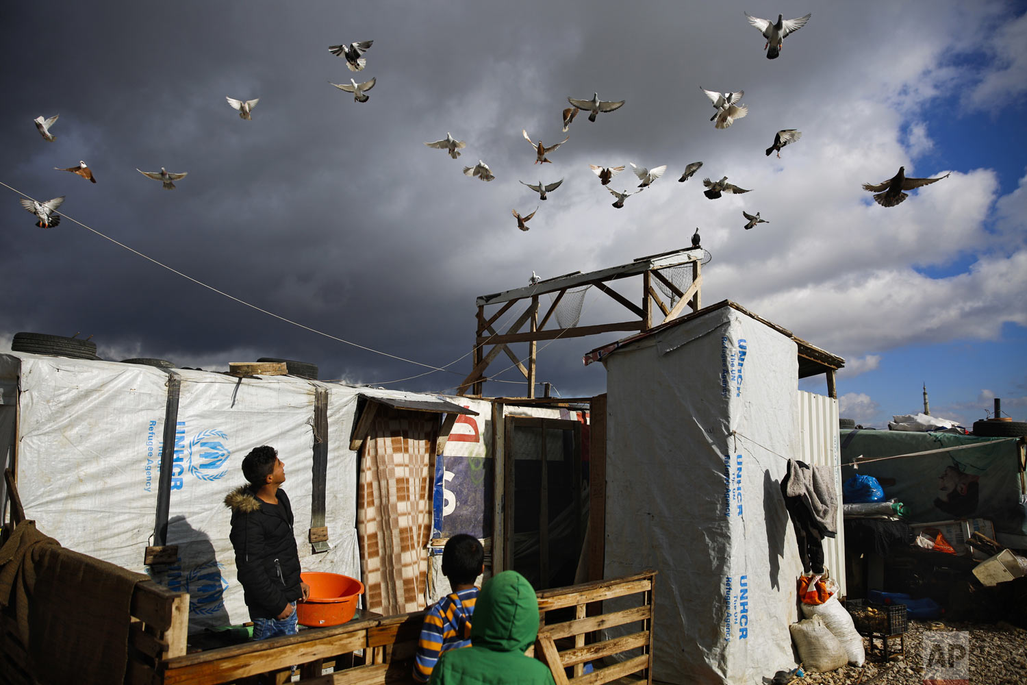 A boy watches his pigeons fly at an informal refugee camp in Zahle city in the eastern Bekaa valley, Lebanon, Monday, Dec. 31, 2018. Temperatures in Bekaa valley took a dip reaching zero degrees Celsius (32 degrees Fahrenheit) Monday early morning. (AP Photo/Hassan Ammar)