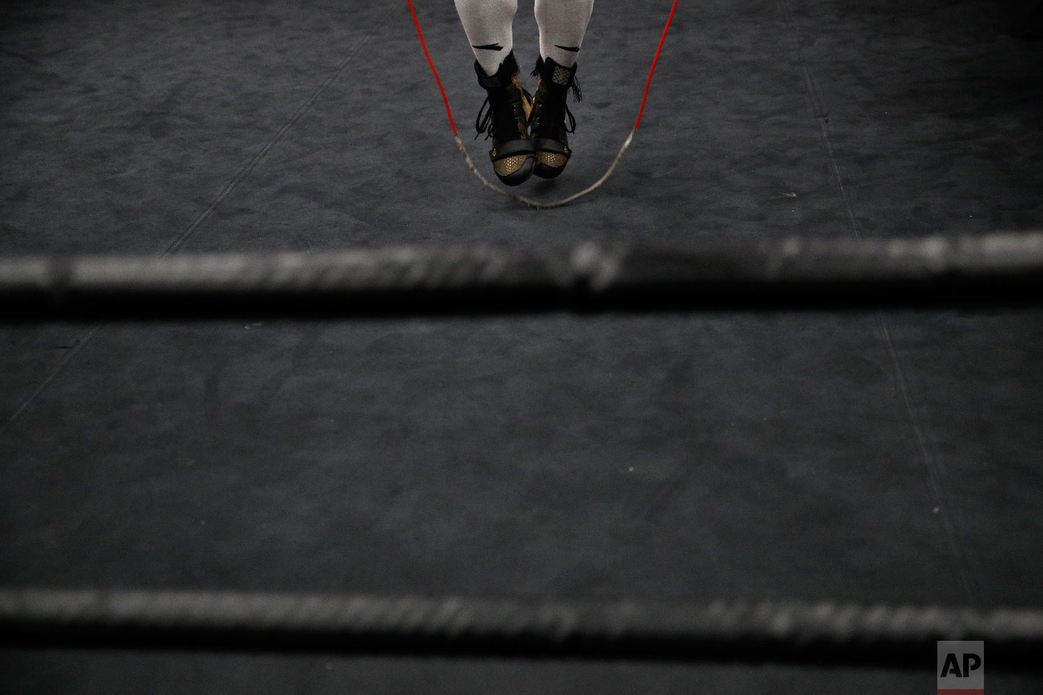 Boxer Manny Pacquiao jumps rope while cooling down after his workout at the Wild Card Boxing Club on Jan. 14, 2019, in Los Angeles. (AP Photo/Jae C. Hong)