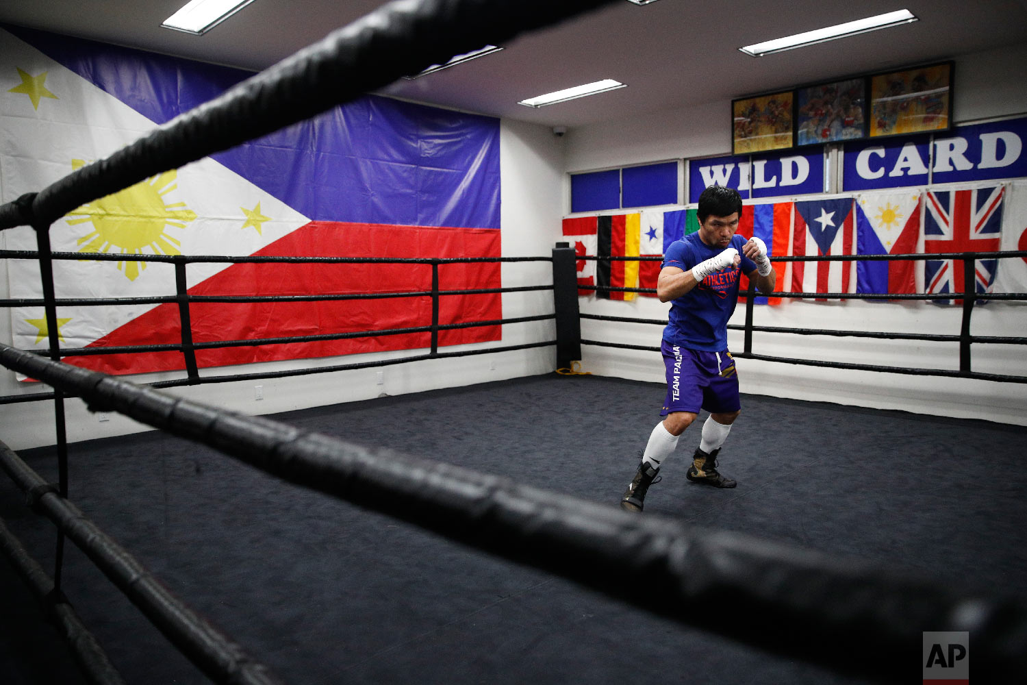 Boxer Manny Pacquiao shadow boxes during a workout at the Wild Card Boxing Club on Jan. 14, 2019, in Los Angeles. (AP Photo/Jae C. Hong)