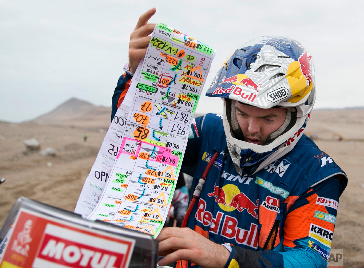An spectator takes a photograph of KTM motorbike rider Matthias Walkner of Austria checking his road book a the start of the third stage of the Dakar Rally between San Juan de Marcona and Arequipa, Peru, Jan. 9, 2019. (AP Photo/Ricardo Mazalan)
