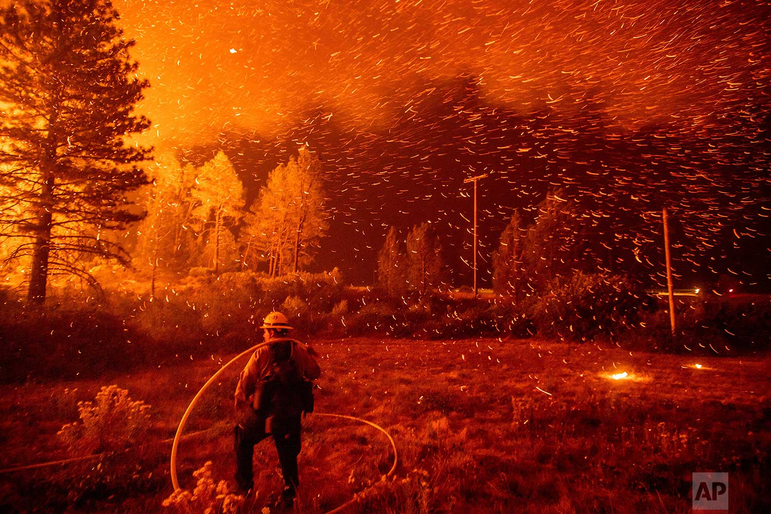 Embers fly above a firefighter as he works to control a backfire as the Delta Fire burns in the Shasta-Trinity National Forest, Calif., on Thursday, Sept. 6, 2018. The blaze had tripled in size overnight. (AP Photo/Noah Berger)