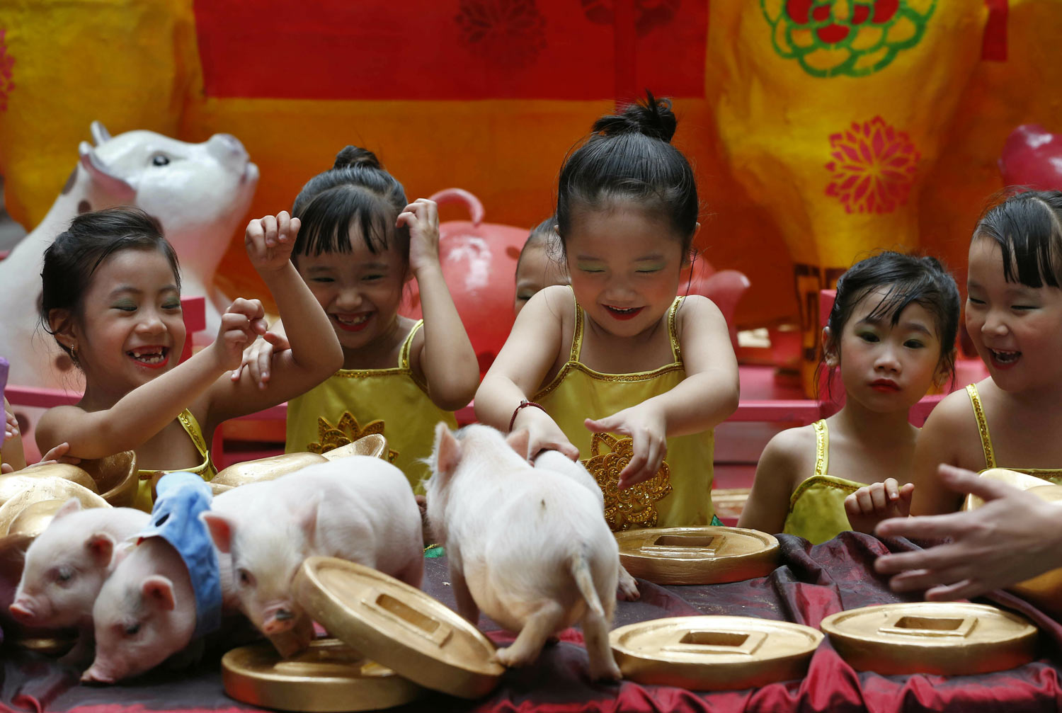 Girls play with live Teacup pigs, a rare pet in the country, at the start of celebrations leading to the Lunar New Year, Friday, Feb. 1, 2019 at Lucky Chinatown Plaza mall in Manila, Philippines. The upcoming Year of the Pig represents abundance, diligence and generosity. (AP Photo/Bullit Marquez)