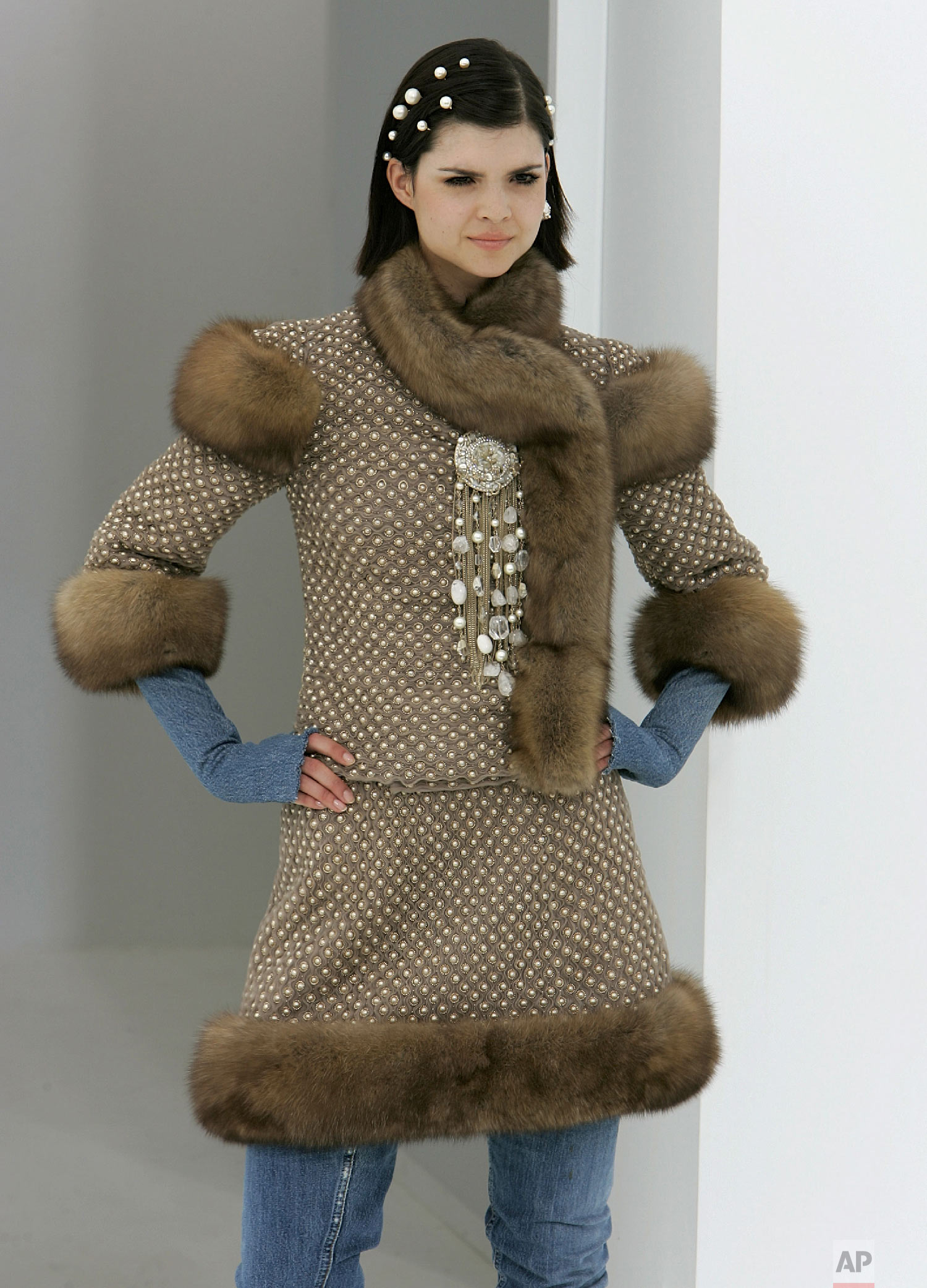 A model presents a creation by Lagerfeld in Paris, July 6, 2006. (AP Photo/Michel Euler)