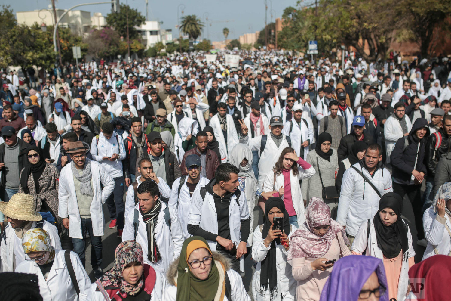 Thousands of teachers chant slogans during a demonstration in Rabat, Morocco, Feb. 20, 2019. (AP Photo/Mosa'ab Elshamy)