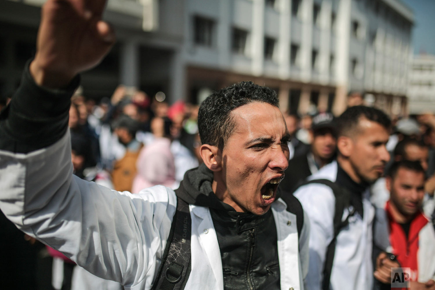 Protesting teachers chant slogans in Rabat, Morocco, Feb. 20, 2019. (AP Photo/Mosa'ab Elshamy)