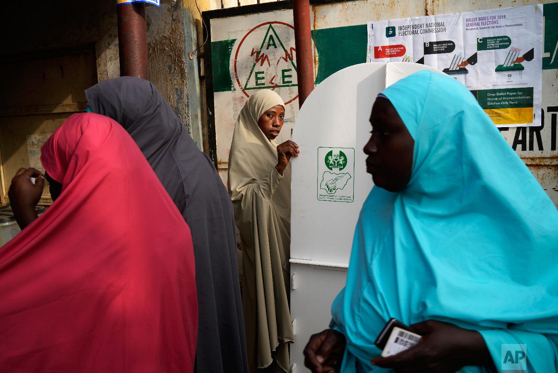 Nigerian women vote in Kaduna, Nigeria, Feb. 23, 2019. (AP Photo/Jerome Delay)