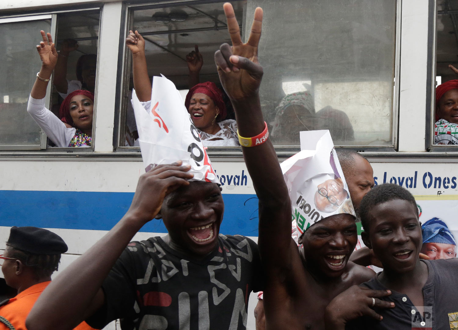 Supporters of Nigerian presidential candidate Atiku Abubakar, of the People's Democratic Party, chant slogans during an election campaign rally at the Tafawa Balewa Square, in Lagos, Nigeria, Feb. 12, 2019. (AP Photo/Sunday Alamba)