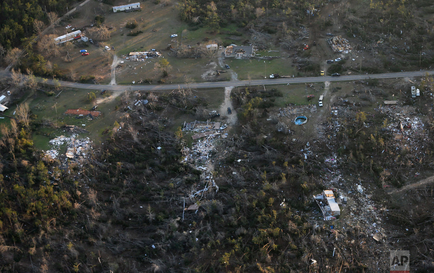 Destruction is seen from tornadoes that came through last night, killing multiple people, in Lee County, Ala., March 4, 2019. (AP Photo/Gerald Herbert)