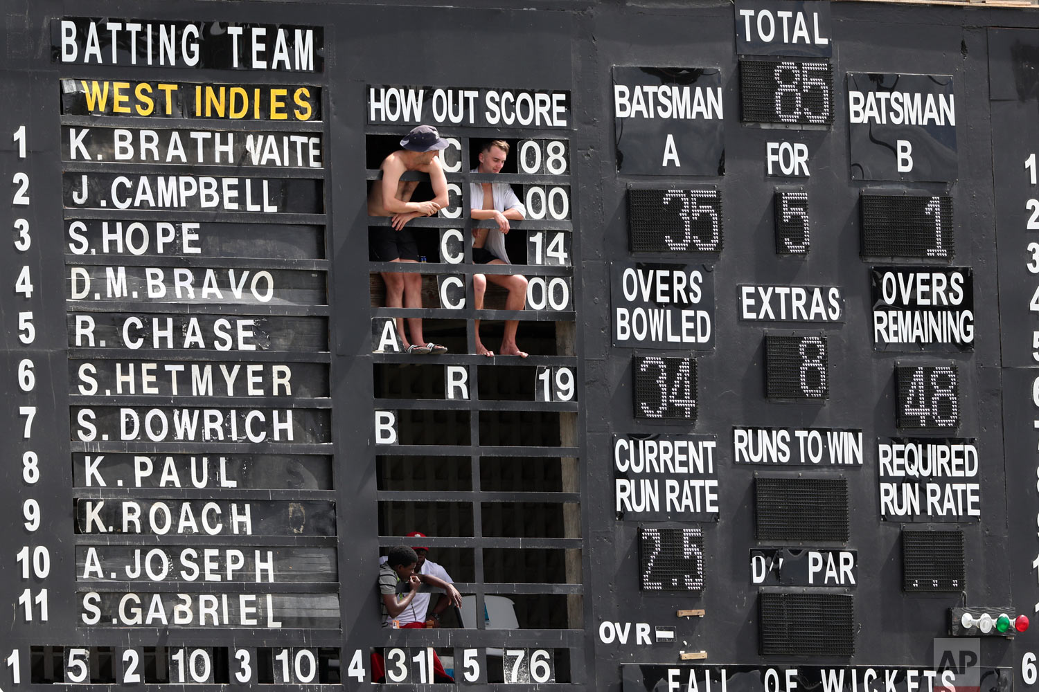 From inside a scoreboard, spectators watch day four of the third cricket Test match between England and West Indies at the Daren Sammy Cricket Ground in Gros Islet, St. Lucia, Feb. 12, 2019. (AP Photo/Ricardo Mazalan)