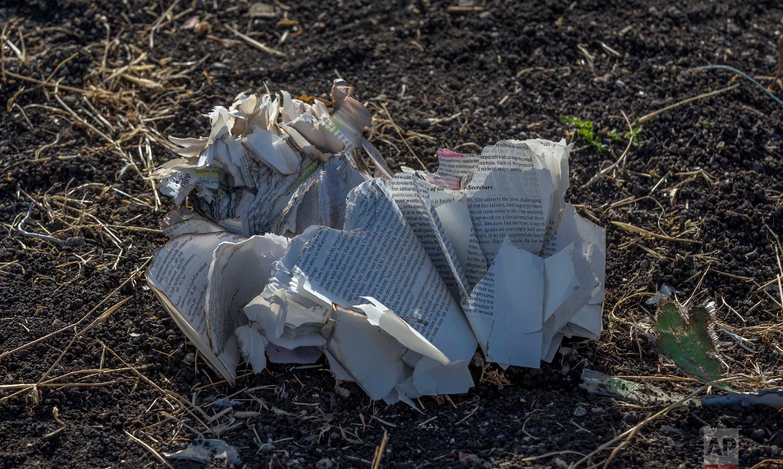 Documents lie on the ground near Bishoftu, Ethiopia, March 11, 2019, where Ethiopia Airlines Flight 302 crashed Sunday. (AP Photo/Mulugeta Ayene)