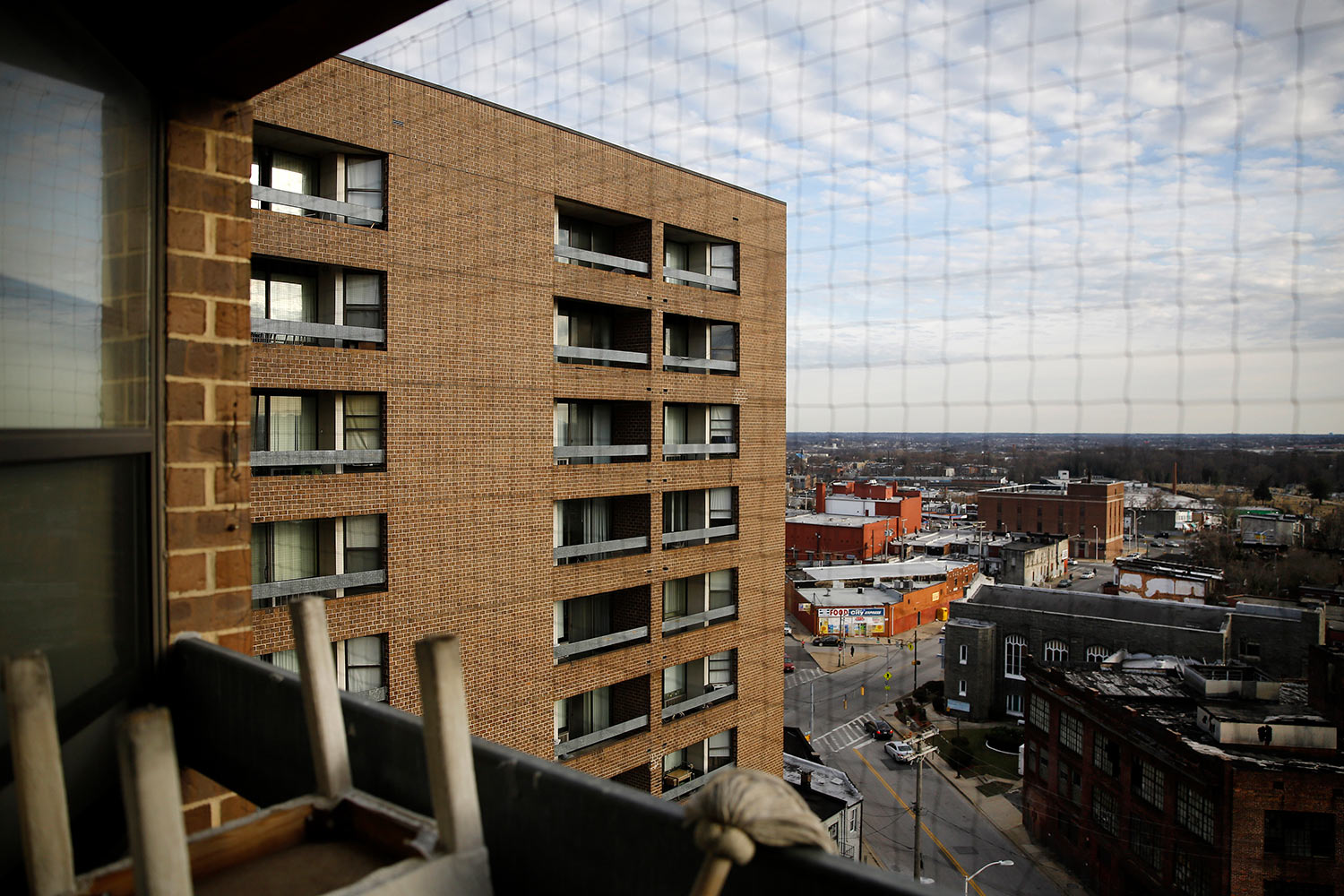 Rosemont Tower is shown from a resident's balcony, Feb. 26, 2019, Baltimore. (AP Photo/Patrick Semansky)