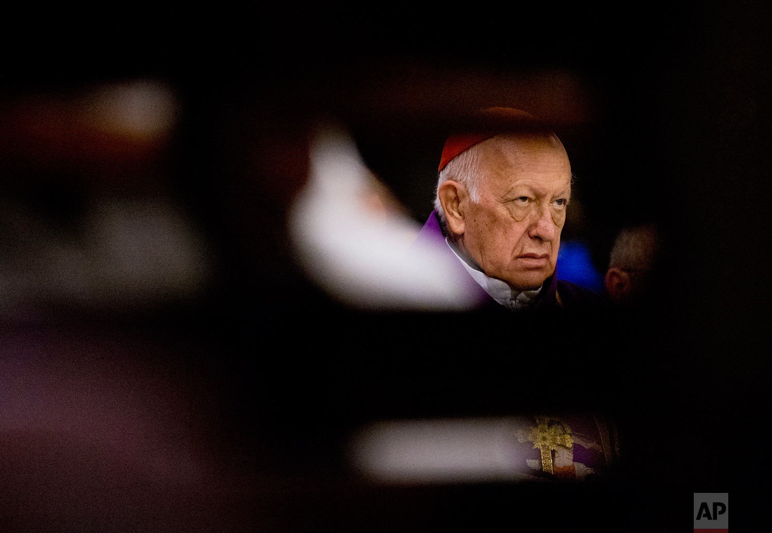 In this March 24, 2019 photo, former Archbishop of Santiago, Cardinal Ricardo Ezzati, takes part in a Mass at the Cathedral of Santiago, Chile, the day after Pope Francis replaced him as archbishop after he was placed under criminal investigation. (AP Photo/Esteban Felix)