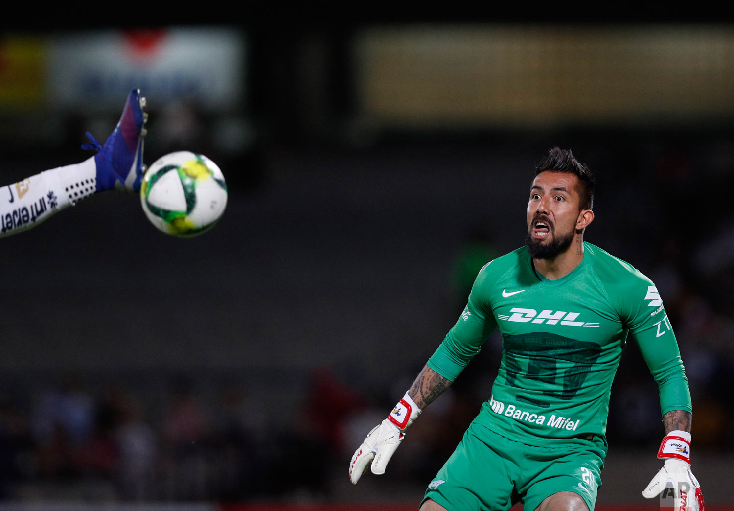 In this March 12, 2019 photo, Pumas' goalkeeper Miguel Fraga watches as a scoring attempt by Dorados is intercepted by teammate Alan Mendoza, in their Copa MX quarterfinal match at Olympic University Stadium in Mexico City. (AP Photo/Rebecca Blackwell)