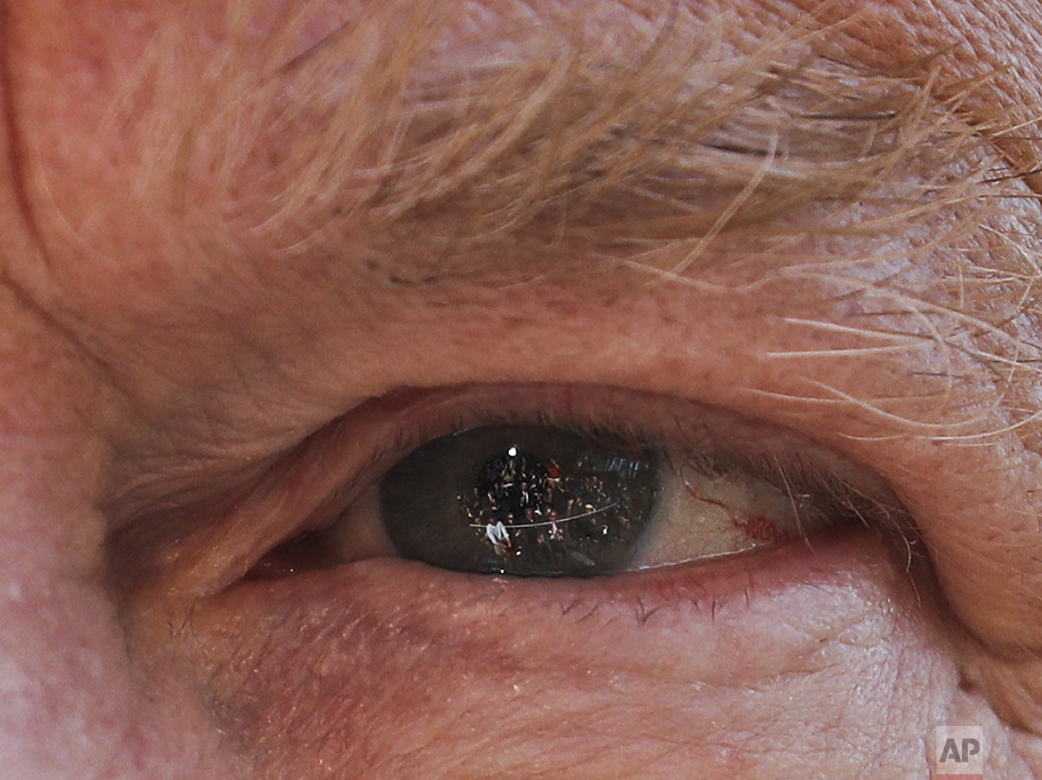 Members of the media are reflected in the left eye of President Donald Trump as he answers questions on the South Lawn of the White House in Washington, before boarding the Marine One helicopter on Wednesday, April 10, 2019. (AP Photo/Pablo Martinez Monsivais)
