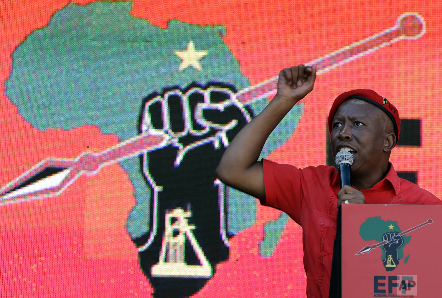 Leader of the Economic Freedom Fighters (EFF) party, Julius Malema, addresses supporters during an election rally at Orlando Stadium in Soweto, South Africa, Sunday, May 5, 2019. The ruling African National Congress was on course to win South Africa's presidential and parliamentary elections by a comfortable margin with almost all votes counted Friday, but the tally showed the party lost support from five years earlier amid deep anger over corruption. The populist, left-wing EFF increased its share of the vote from 6% to 10. (AP Photo/Themba Hadebe)