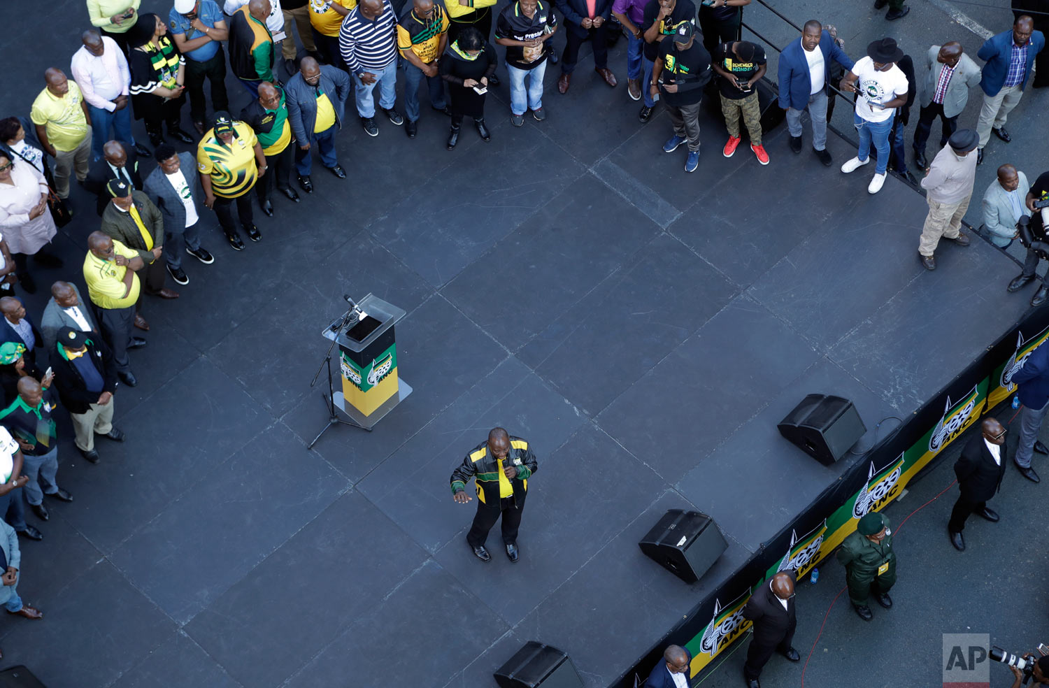 African National Congress (ANC), president Cyril Ramaphosa, addresses supporters during their celebration in Johannesburg, South Africa, May 12, 2019. (AP Photo/Themba Hadebe)