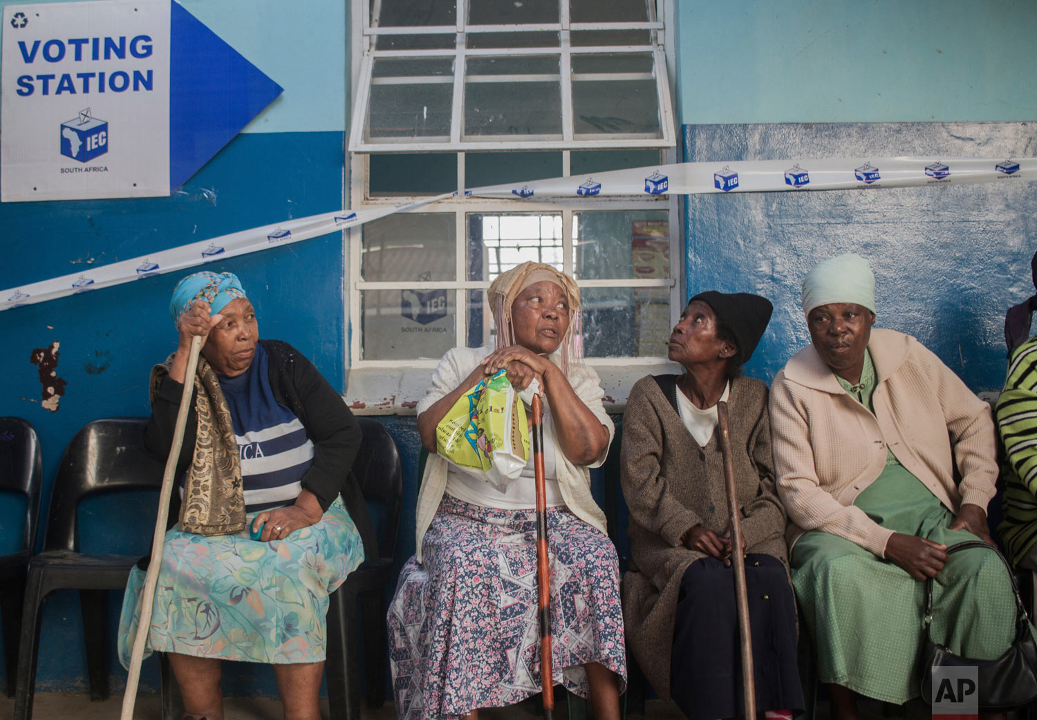 Elderly voters queue to vote in presidential and parliamentary elections, near Durban, South Africa on Wednesday, May 8, 2019. (AP Photo/Mlungisi Mbele)
