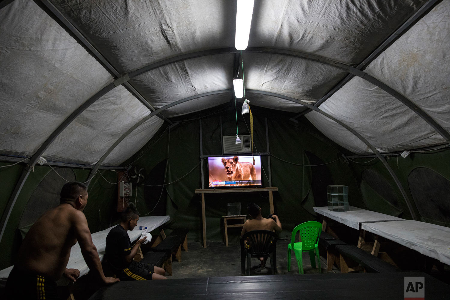 Soldiers watch a nature show in their tent at the Balata military and police base, March 31, 2019, in Peru's Tambopata province. The base is surrounded by two lakes contaminated with mercury, as well as debris left over by miners. (AP Photo/Rodrigo Abd)