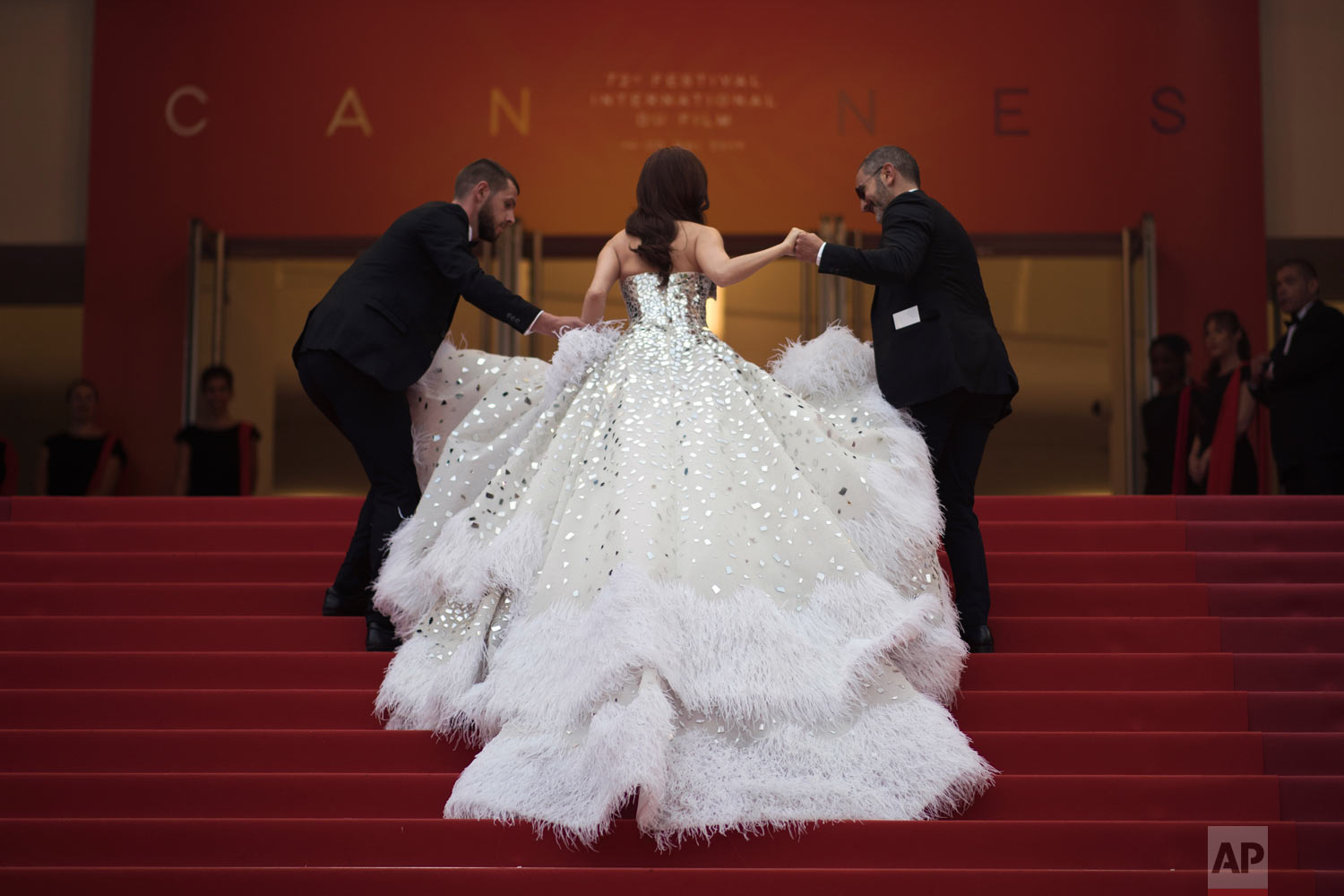 Singer Jessica Jung arrives at the opening ceremony and the premiere of the film 'The Dead Don't Die' at the 72nd international film festival, Cannes, southern France, May 14, 2019. (AP Photo/Petros Giannakouris)