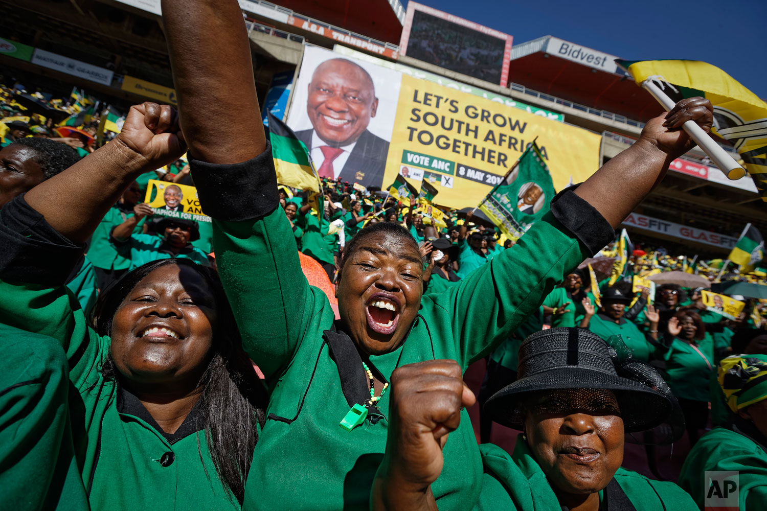 Supporters of the ruling African National Congress (ANC) attend their final election rally at Ellis Park stadium in Johannesburg, South Africa Sunday, May 5, 2019.  (AP Photo/Ben Curtis)