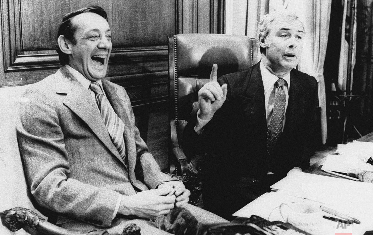 In this April 1977 file photo, San Francisco Supervisor Harvey Milk, left, and Mayor George Moscone sit together in the mayor's office during the signing of the city's gay rights bill. (AP Photo)