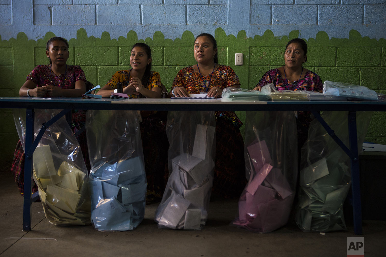 Electoral workers wait for people to cast their votes during general elections in Chinautla on the outskirts of Guatemala City, Sunday, June 16, 2019. Guatemalans are voting for their next president in elections plagued by widespread disillusion and distrust, and as thousands of their compatriots flee poverty and gang violence to seek a new life in the United States. (AP Photo/Oliver de Ros)