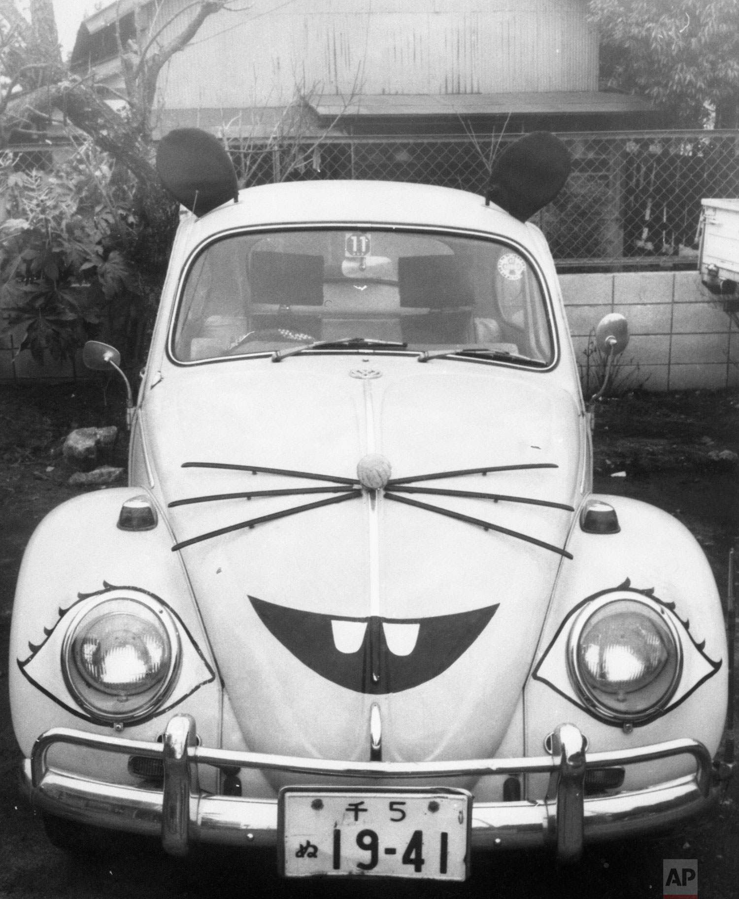 A Volkswagen Beetle with a mouse design which belongs to an exterminating company in Tokyo, Japan shown around Jan. 10, 1972. (AP Photo)