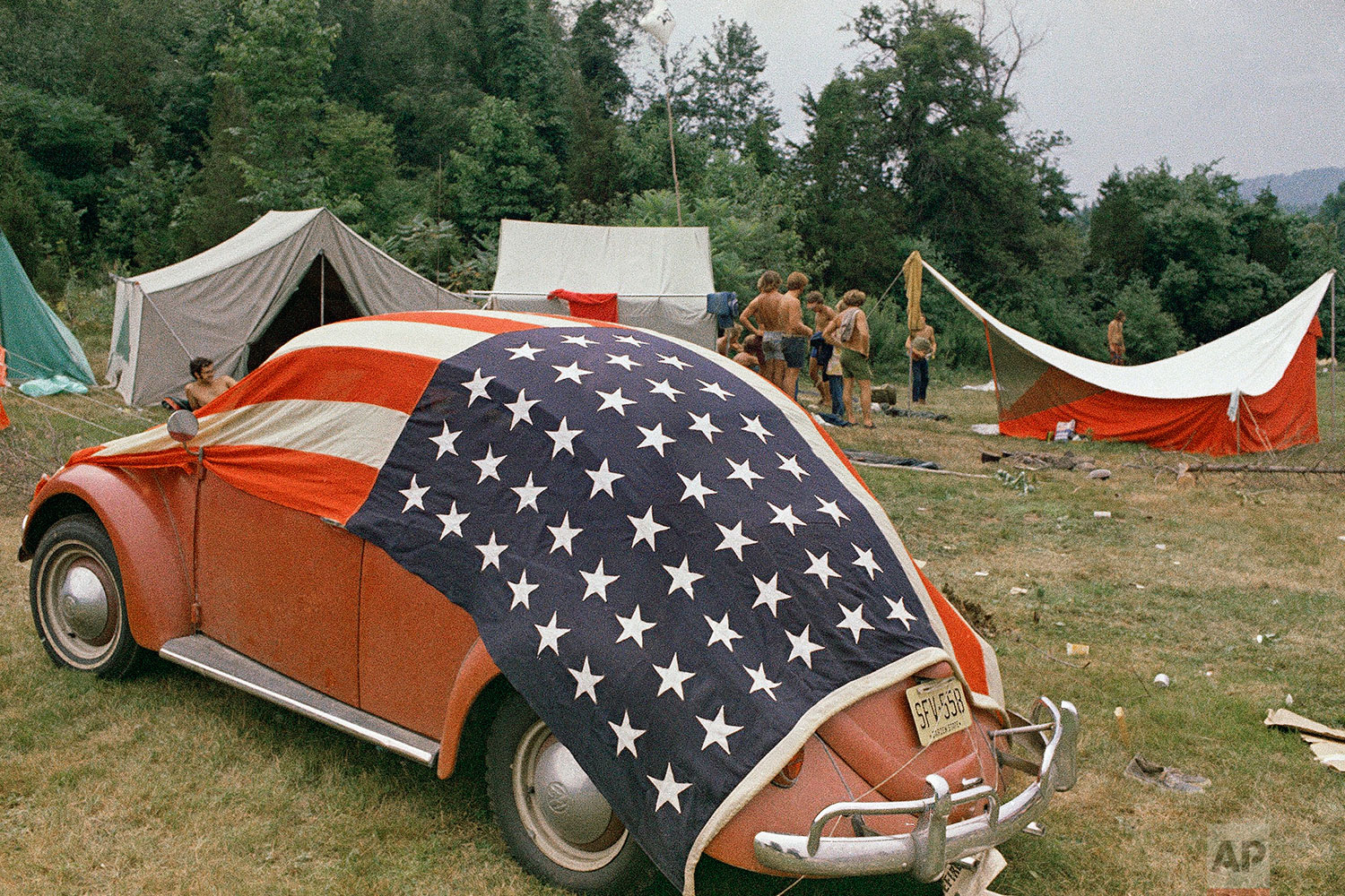 Attendees shown at the Powder Ridge Music Festival, Aug. 2, 1970, Middletown, Conn. (AP Photo)