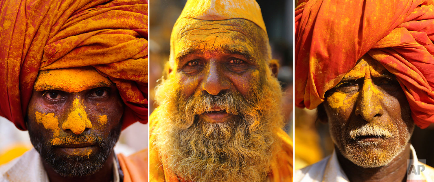 photo combo, devotees are covered in the spice turmeric during the celebration of the Bhandara Festival, or the Festival of Turmeric, at the Jejuri temple in Pune district, Maharashtra state, India. During the festival, devotees use the golden powder to worship the deity Lord Khandoba, widely known as a descendant of the sun, and to celebrate his victory over the demons Mani and Malla. (AP Photo/Rafiq Maqbool)
