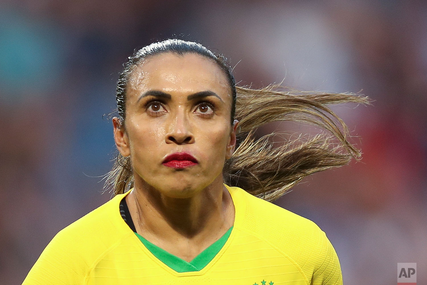 Brazil's Marta runs during the Women's World Cup round of 16 soccer match between France and Brazil at the Oceane stadium in Le Havre, France, Sunday, June 23, 2019. (AP Photo/Francisco Seco)