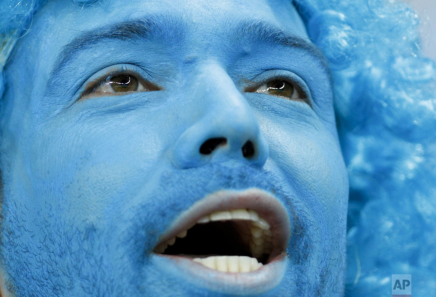 An Uruguay fan covered in blue cheers prior to his team's Copa America Group C soccer match against Ecuador at  Mineirao stadium in Belo Horizonte, Brazil, Sunday, June 16, 2019. (AP Photo/Victor R. Caivano)