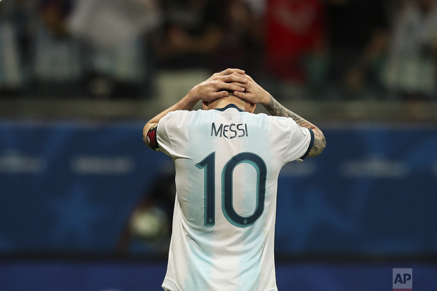 Argentina's Lionel Messi holds his head down after failing to score during a Copa America Group B soccer match against Colombia at  Arena Fonte Nova in Salvador, Brazil, Saturday, June 15, 2019. (AP Photo/Ricardo Mazalan)