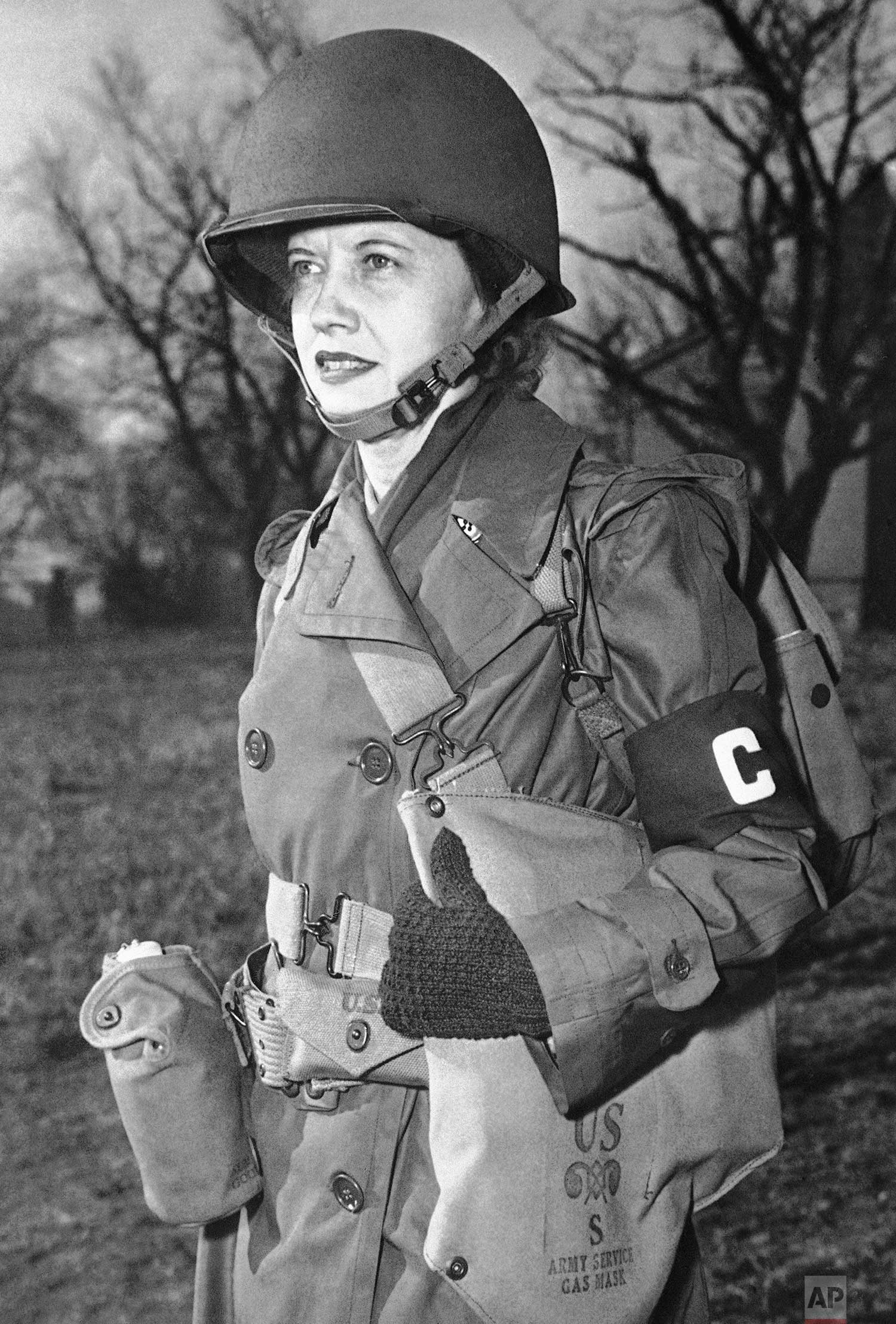 Ruth Cowan, Associated Press war correspondent, who has covered almost every front page assignment, in England, on Jan. 29, 1943. (AP Photo)