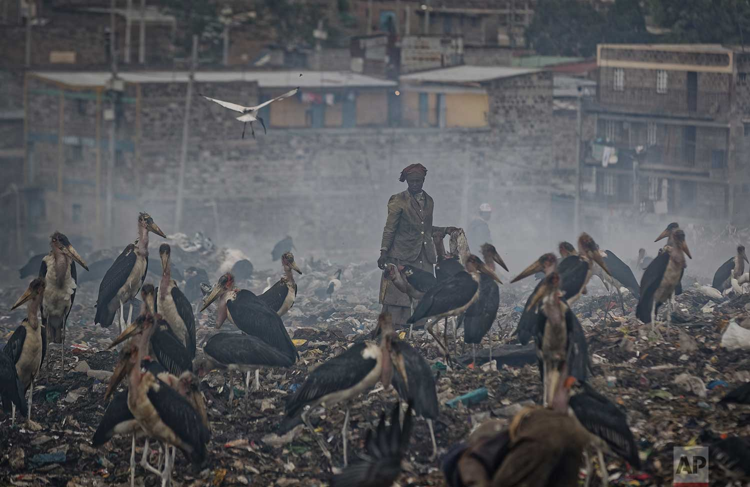 In this photo taken Wednesday, Dec. 5, 2018, a woman who scavenges recyclable materials from garbage for a living is seen through a cloud of smoke from burning trash, surrounded by Marabou storks who feed on the garbage, at the dump in the Dandora slum of Nairobi, Kenya. (AP Photo/Ben Curtis)