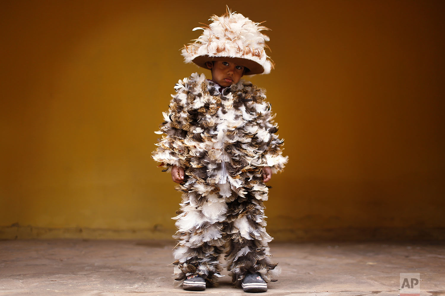 Four-year-old Josia Sebastian Yegros poses for a photo wearing his feathered costume during the feast of St. Francis Solano catholic, in Emboscada, Paraguay, Wednesday, July 24, 2019. Modesto Martínez, a parish priest in the nearby city of San Bernardino, said there was no scholarly explanation for the procession, but birds were believed to have sung to St. Francis Solano as he lay on his deathbed. (AP Photo/Jorge Saenz)