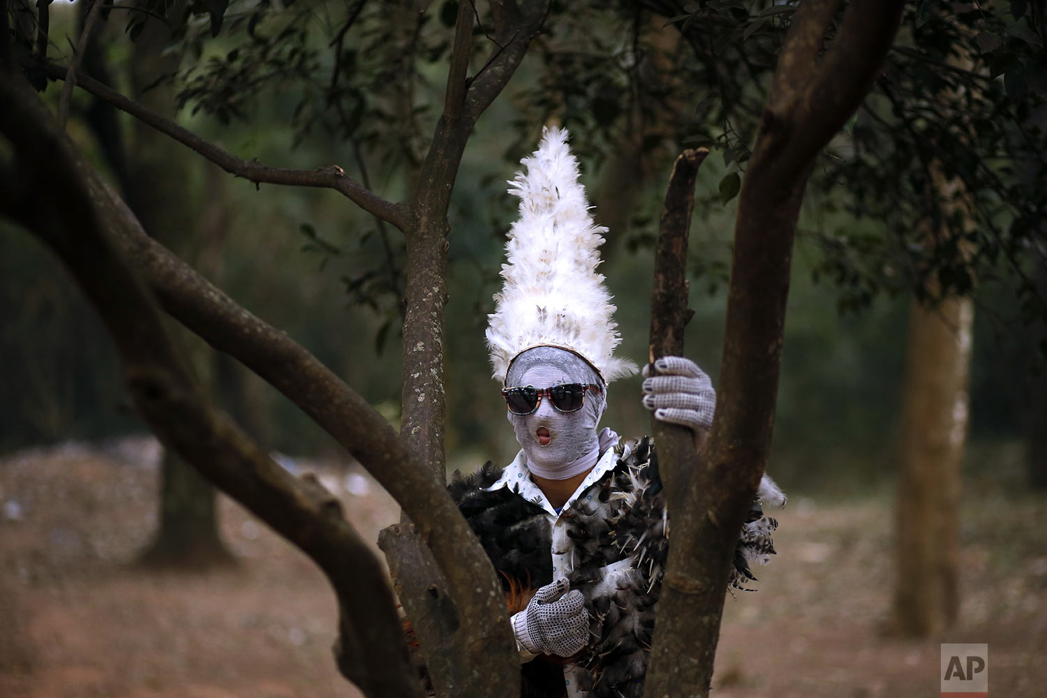 Agustin Armoa poses for a portrait wearing his feathered costume during a Mass in honor of St. Francis Solano in Emboscada, Paraguay, Wednesday, July 24, 2019. Armoa has been a devotee for 15 years, attributing his recovery from a childhood illness to what he believes is the miraculous powers of St. Francis Solano. (AP Photo/Jorge Saenz)