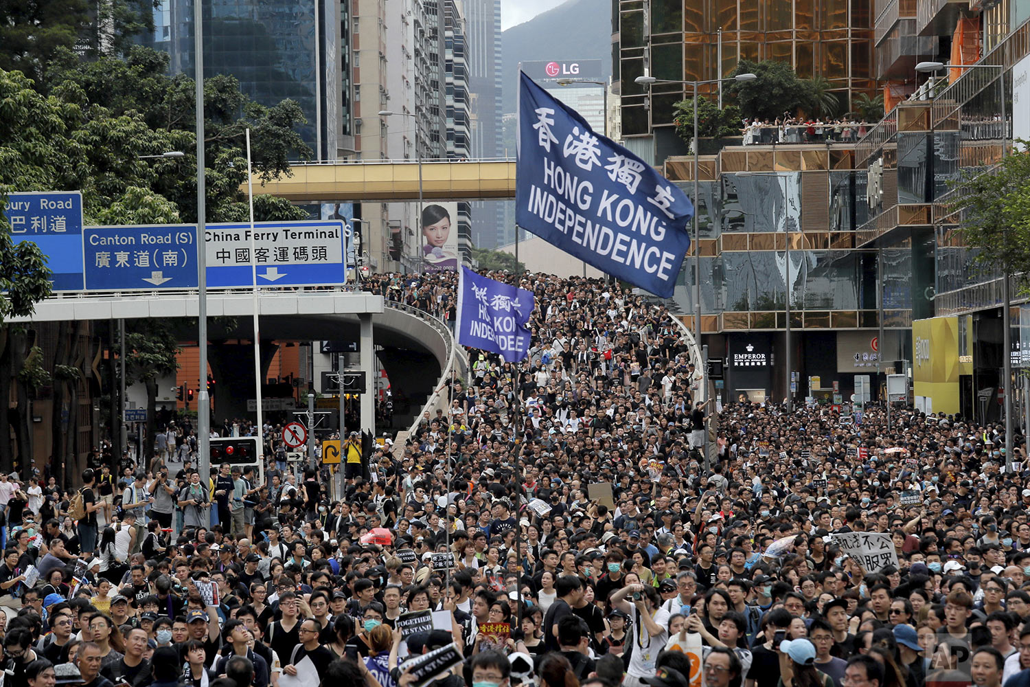 Protesters march with a flag calling for Hong Kong independence in Hong Kong, Sunday, July 7, 2019 (AP Photo/Kin Cheung)