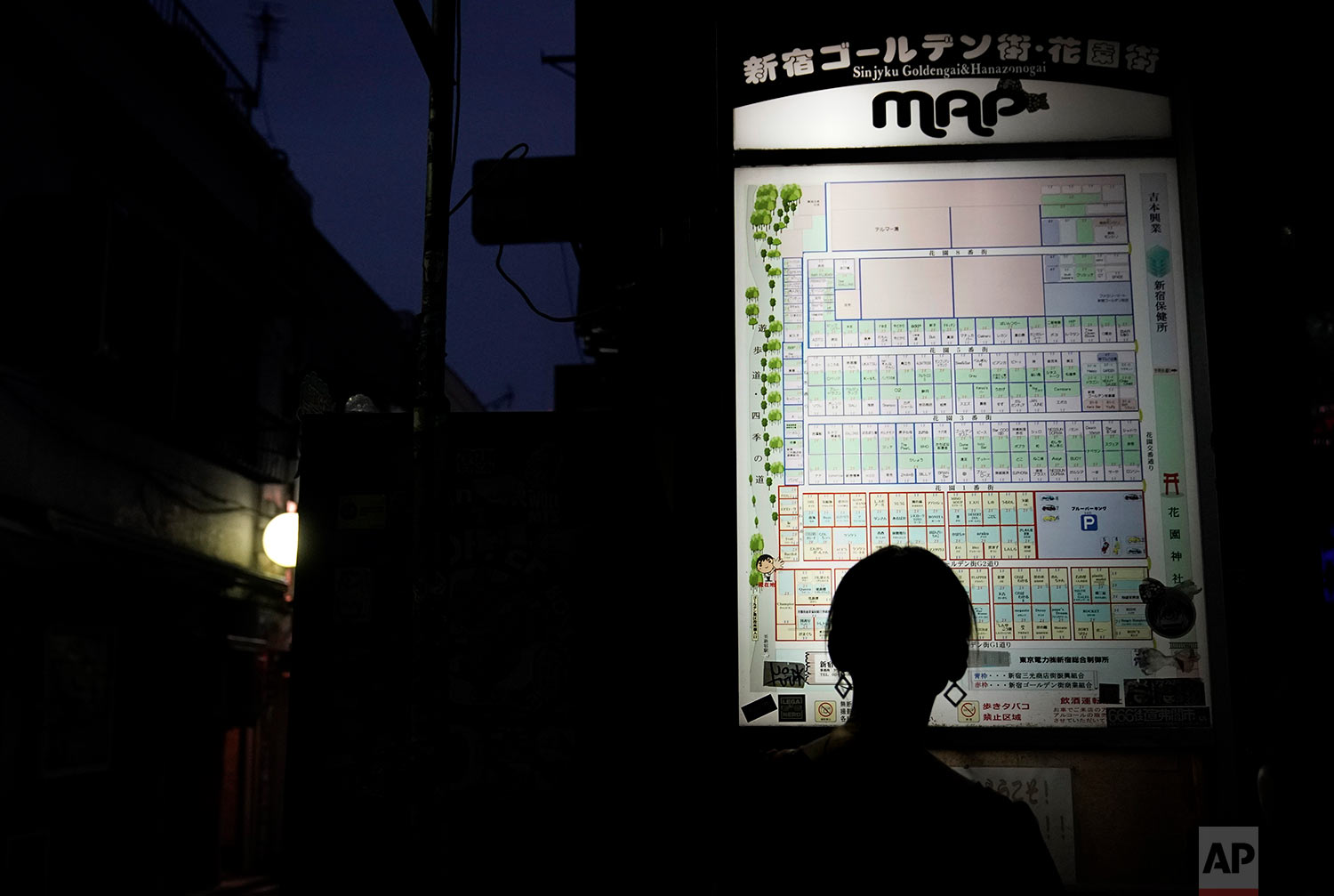 A tourist is silhouetted as she looks at the map of the Golden Gai in the Shinjuku district of Tokyo, July 28, 2019. (AP Photo/Jae C. Hong)