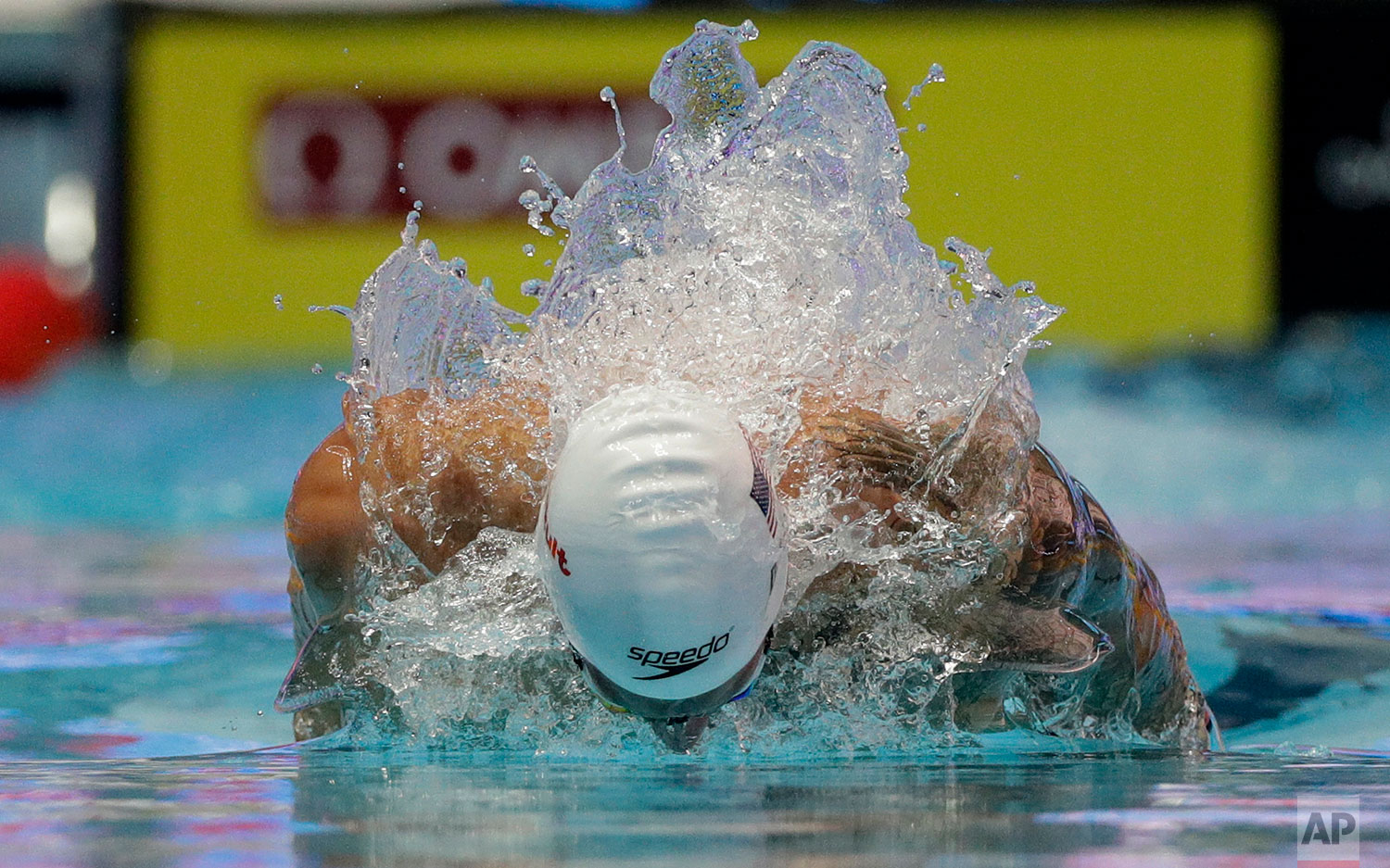 United States' Caeleb Dressel swims in his heat of the men's 100m butterfly at the World Swimming Championships in Gwangju, South Korea, Friday, July 26, 2019. (AP Photo/Mark Schiefelbein)